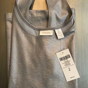 Chico's Silver Glitter Tank size 2 Holliday wear🎄